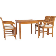 "5 Piece Teak Wood Bermuda 55"" Rectangular Small Bistro Dining Set with 4 Arm Chairs"