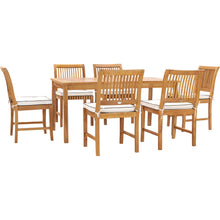 "7 Piece Teak Wood Bermuda 63"" Rectangular Medium Bistro Dining Set with 6 Side Chairs"