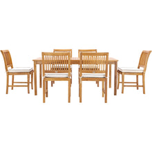 "7 Piece Teak Wood Bermuda 71"" Rectangular Large Bistro Dining Set with 6 Side Chairs"