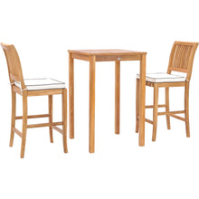 "3 Piece Teak Wood Castle Intimate Patio Bistro Bar Set with 27"" Bar Table & 2 Barstools"