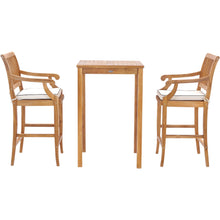 "3 Piece Teak Wood Castle Intimate Patio Bistro Bar Set with 27"" Bar Table & 2 Barstools with Arms"