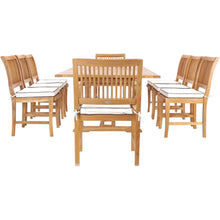 9 Piece Teak Wood Castle Patio Dining Set with Rectangular Extension Table, 6 Side Chairs and 2 Arm Chairs