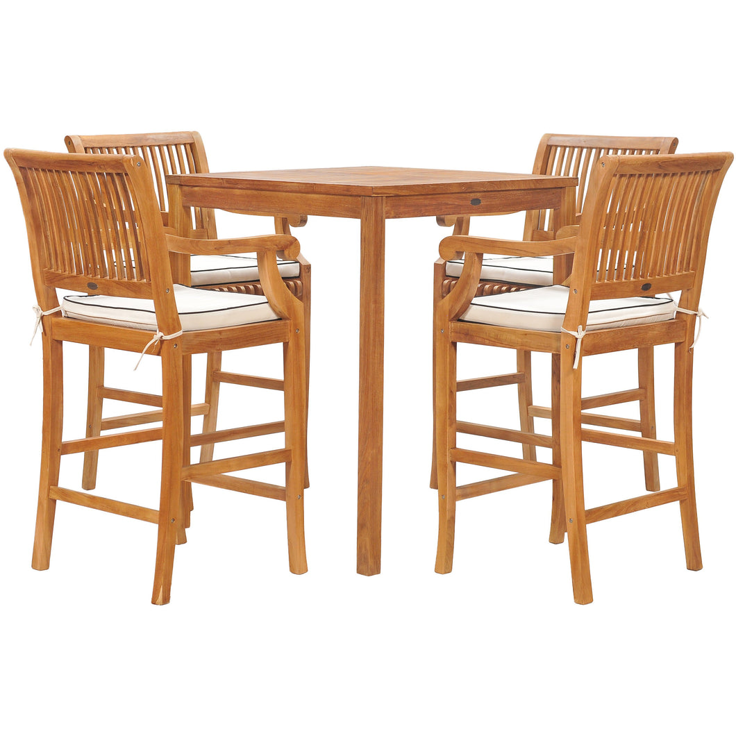 5 Piece Teak Wood Castle Patio Bistro Bar Set with 35