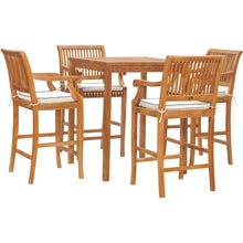"5 Piece Teak Wood Castle Patio Bistro Bar Set with 35"" Bar Table & 4 Barstools with Arms"