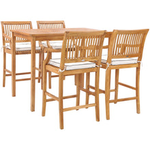 "5 Piece Teak Wood Castle 55"" Rectangular Small Bistro Bar Set including 4 Barstools with Arms"
