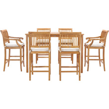 "7 Piece Teak Wood Castle 63"" Rectangular Medium Bistro Bar Set including 2 Barstools with Arms and 4 Barstools"