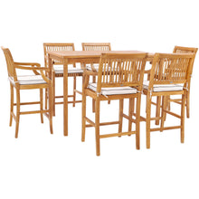 "7 Piece Teak Wood Castle 63"" Rectangular Medium Bistro Bar Set including 6 Barstools with Arms"