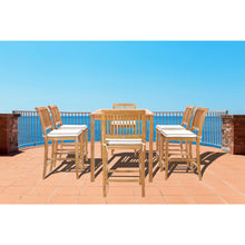 "7 Piece Teak Wood Castle 63"" Rectangular Medium Bistro Bar Set including 6 Barstools"