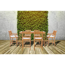 "7 Piece Teak Wood Castle 71"" Rectangular Large Bistro Bar Set including 2 Barstools with Arms and 4 Barstools"