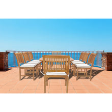 9 Piece Teak Wood Castle Patio Dining Set with Oval Extension Table, 6 Side Chairs and 2 Arm Chairs