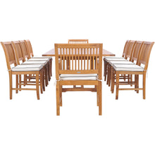 11 Piece Teak Wood Castle Patio Dining Set with Rectangular Double Extension Table, 8 Side Chairs and 2 Arm Chairs