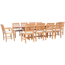 11 Piece Teak Wood Castle Patio Dining Set with Oval Double Extension Table, 8 Side Chairs and 2 Arm Chairs