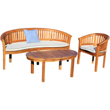 Teak Wood Peanut 3 Piece Patio Lounge Set, Triple Bench, Chair & Coffee Table - Chic Teak