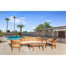 Teak Wood Peanut 4 Piece Patio Lounge Set, Triple Bench, 2 Chairs & Coffee Table - Chic Teak