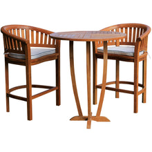 "Teak Wood Peanut 3 Piece Patio Bar Set, 2 Bar Chairs and 35"" Round Miami Bar Table - Chic Teak"