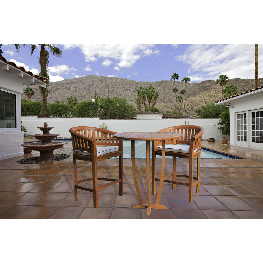 Teak Wood Peanut 3 Piece Patio Bar Set, 2 Bar Chairs and 35
