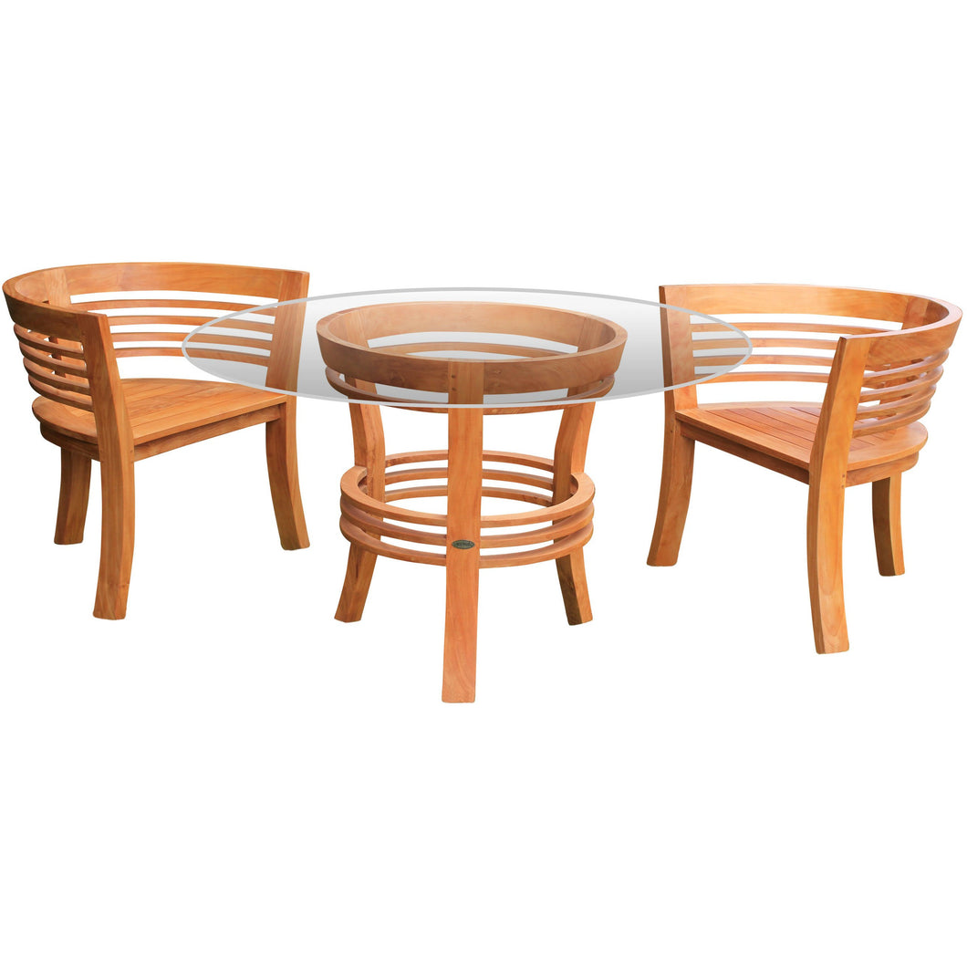 3 Piece Teak Wood Half Moon Patio Dining Set, 2 Chairs and 47