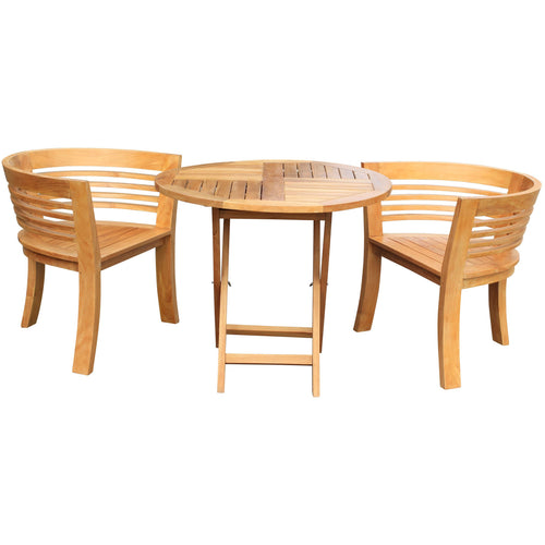 Teak Wood California Half Moon 3 Piece Patio Dining Set, 2 Chairs and 36