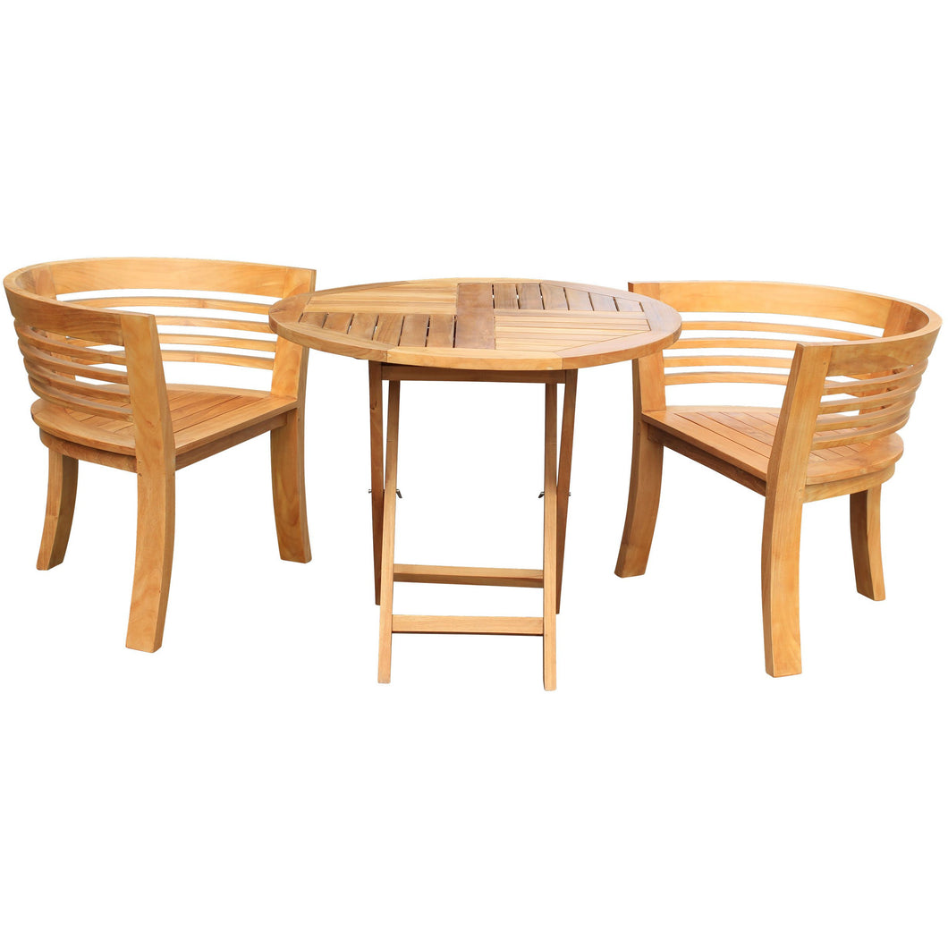 3 Piece Teak Wood California Half Moon Patio Dining Set, 2 Chairs and 36