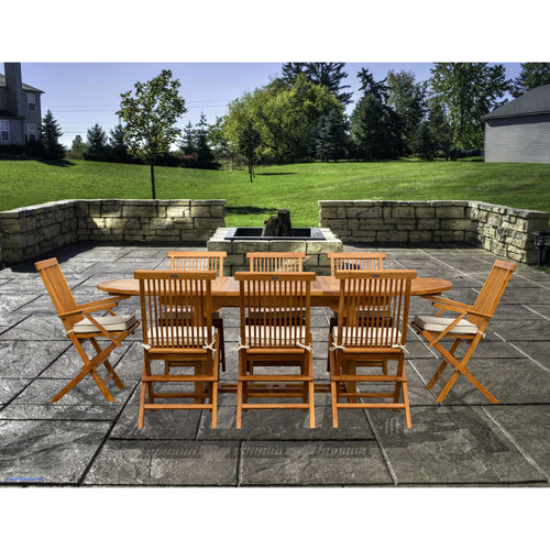 9 Piece Teak Wood Miami Patio Dining Set with Oval Extension Table, 2 Folding Arm Chairs and 6 Folding Side Chairs