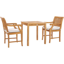 "3 Piece Teak Wood Florence Intimate Bistro Dining Set with 27"" Square Table and 2 Arm Chairs"