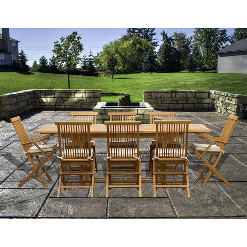 9 Piece Teak Wood Miami Patio Dining Set with Rectangular Extension Table, 2 Folding Arm Chairs and 6 Folding Side Chairs