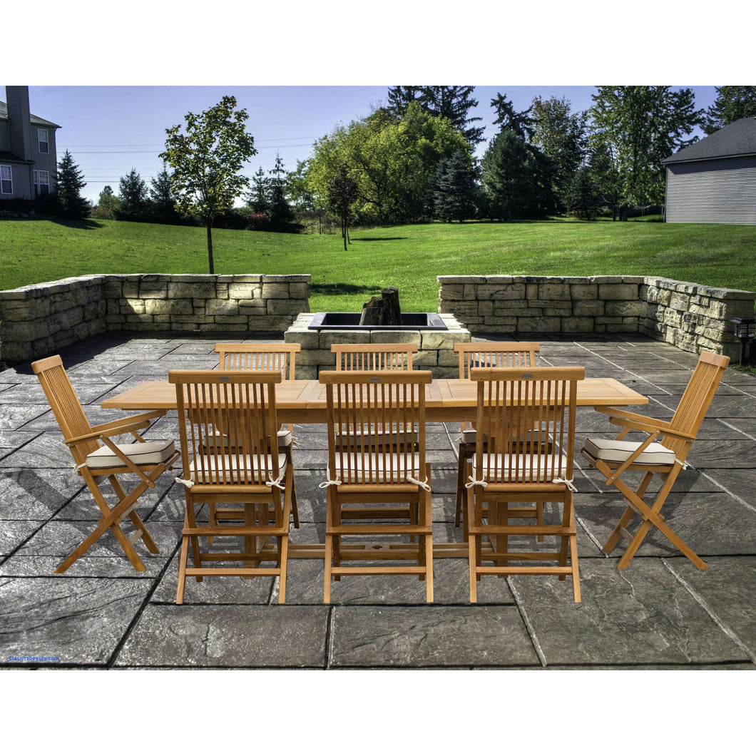 9 Piece Teak Wood Miami Patio Dining Set with Rectangular Extension Table, 2 Folding Arm Chairs and 6 Folding Side Chairs - Chic Teak