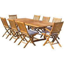 9 Piece Teak Wood Santa Barbara Patio Dining Set with Rectangular Extension Table, 2 Folding Arm Chairs and 6 Folding Side Chairs - Chic Teak