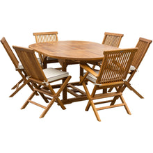 7 Piece Teak Wood Miami Patio Dining Set with Round to Oval Extension Table, 2 Arm Chairs and 4 Side Chairs with Cushions - Chic Teak