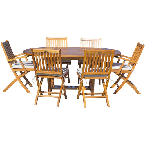 7 Piece Teak Wood Santa Barbara Patio Dining Set with Round to Oval Extension Table, 2 Arm Chairs and 4 Side Chairs with Cushions - Chic Teak