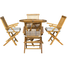 "5 Piece Teak Wood California Dining Set with 47"" Round Folding Table and 4 Folding Arm Chairs and Cushions - Chic Teak"