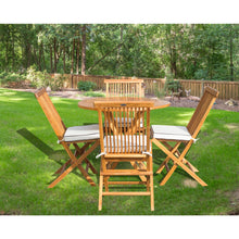 "5 Piece Teak Wood California Dining Set with 47"" Round Folding Table and 4 Folding Side Chairs and Cushions - Chic Teak"