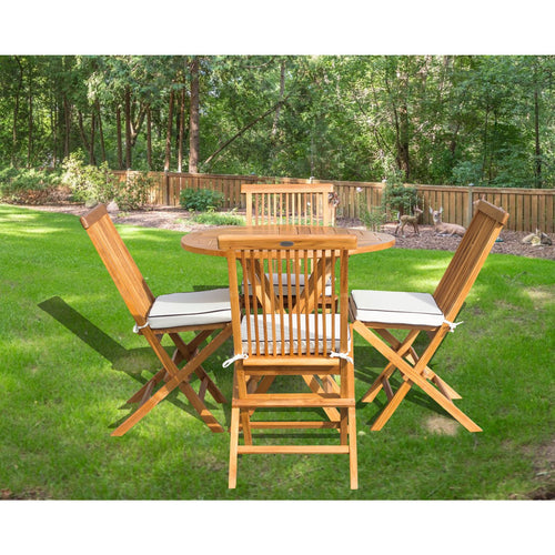 5 Piece Teak Wood California Dining Set with 47