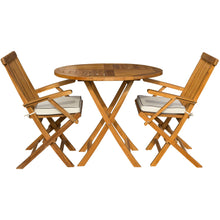 "3 Piece Teak Wood Barcelona Patio Dining Set, 36"" Round Folding Table with 2 Folding Arm Chairs and Cushions - Chic Teak"