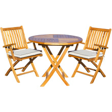 "3 Piece Teak Wood Santa Barbara Patio Dining Set, 36"" Round Folding Table with 2 Folding Arm Chairs and Cushions - Chic Teak"