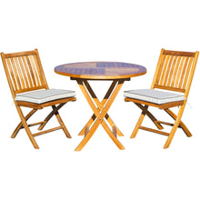 "3 Piece Teak Wood Santa Barbara Patio Dining Set, 36"" Round Folding Table with 2 Folding Side Chairs and Cushions - Chic Teak"