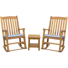 3 Piece Teak Wood Santiago Patio Lounge Set with 2 Rocking Chairs and Side Table - Chic Teak