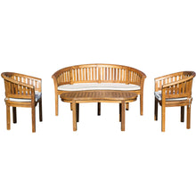 Teak Wood Peanut 4 Piece Patio Lounge Set, 2 Chairs, Double Bench & Coffee Table - Chic Teak