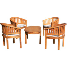 Teak Wood Peanut 5 Piece Patio Conversation Set, 4 Chairs w/ Cushions & Coffee Table
