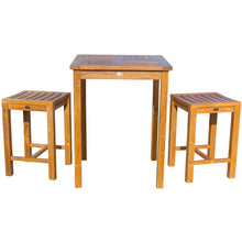"3 Piece Teak Wood Seville Small Counter Height Patio Bistro Set, 2 Counters Stools and 27"" Square Table - Chic Teak"