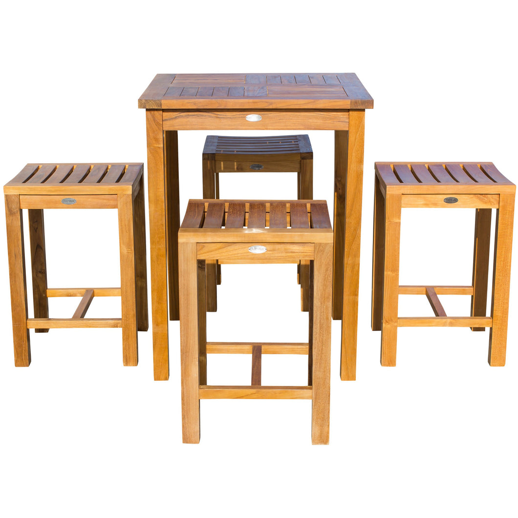 5 Piece Teak Wood Seville Small Counter Height Patio Bistro Set, 4 Counters Stools and 27
