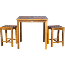 "3 Piece Teak Wood Seville Medium Counter Height Patio Bistro Set, 2 Counters Stools and 35"" Square Table - Chic Teak"