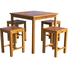 "5 Piece Teak Wood Seville Medium Counter Height Patio Bistro Set, 4 Counters Stools and 35"" Square Table - Chic Teak"