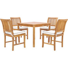 "5 Piece Teak Wood Florence Bistro Dining Set with 35"" Square Table and 4 Side Chairs"