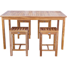 "5 Piece Teak Wood Antigua Patio Counter Height Bistro Set with 63"" Rectangular Table and 4 Stools - Chic Teak"