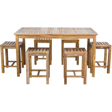 "7 Piece Teak Wood Antigua Patio Counter Height Bistro Set with 63"" Rectangular Table and 6 Stools - Chic Teak"