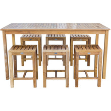 "7 Piece Teak Wood Antigua Patio Counter Height Bistro Set with 71"" Rectangular Table and 6 Stools - Chic Teak"