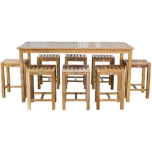 "9 Piece Teak Wood Antigua Patio Counter Height Bistro Set with 71"" Rectangular Table and 8 Stools - Chic Teak"