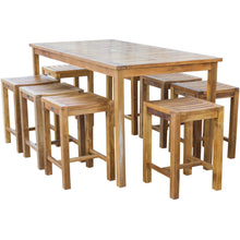 "Teak Wood Antigua Rectangular Bistro Table, Counter Height (55"", 63"" and 71"" sizes)"
