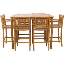 "7 Piece Teak Wood Maldives Patio Bistro Bar Set, 55"" Bar Table, 2 Barstools with Arms and 4 Armless Barstools - Chic Teak"